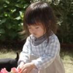 下の子とビートお庭で遊ぶ。